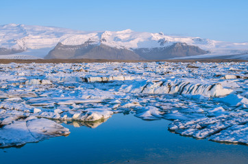 Jökulsárlón Ice Lagoon at sunrise