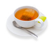 Cup of tea with tea bag, isolate on white - 65228420