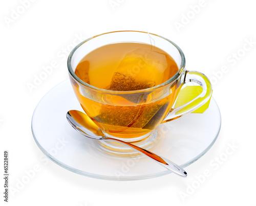Papiers peints Salle de cafe Cup of tea with tea bag, isolate on white