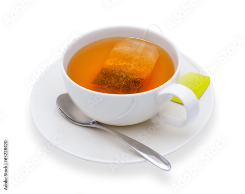 Foto op Canvas Thee Cup of tea with tea bag, isolate on white