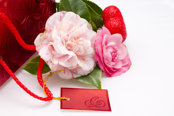 camellias and red heart