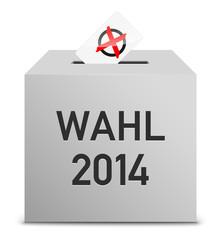 Wahl 2014 mit Stimmzettel