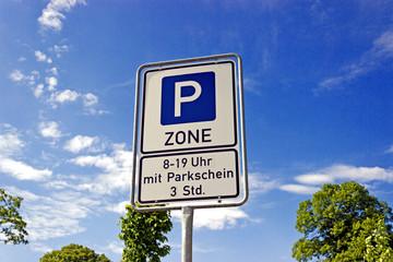 Hinweisschild Parkzone
