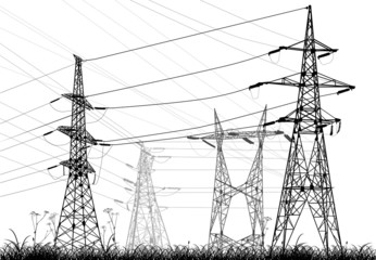 four electrical pylons in grass isolated on white