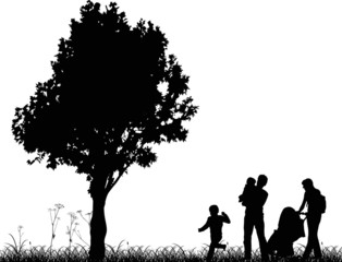 family and tree silhouettes isolated on white