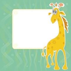 Invitation card with cute giraffe with hypnotic eyes