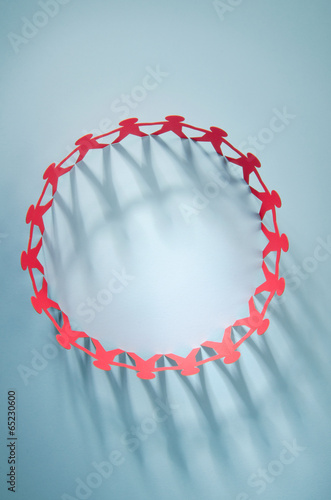 Red people paper chain