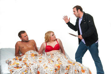 Angry man with knife finds his wife in bed with another man