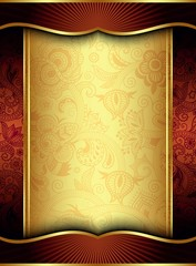 Abstract Gold Floral Frame