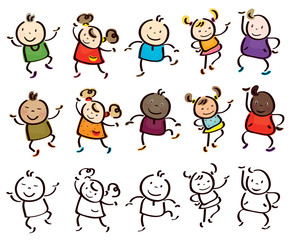 Vector fun, dancing  kids cartoons isolated.