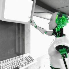 Robot touching screen