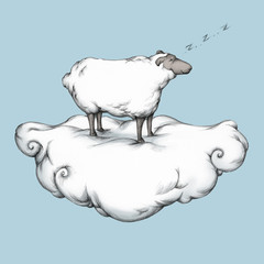 Schlafendes Schaf auf einer Wolke