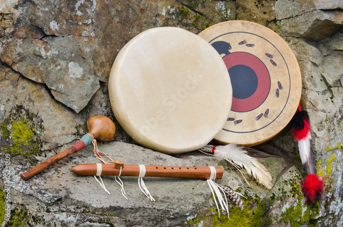 Native American Drums, Flute and Shaker. - 65231809