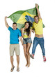 Group of attractive Brazil supporters jumping with Brazil Flag