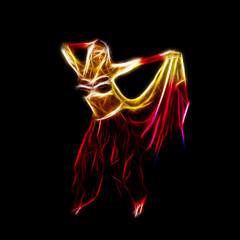 Belly dancer holding skirt