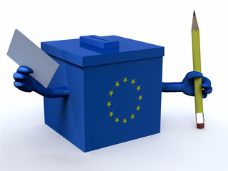 european ballot box with arms, pencil and voting paper