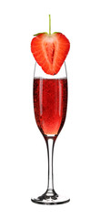 Glass of champagne and strawberry.