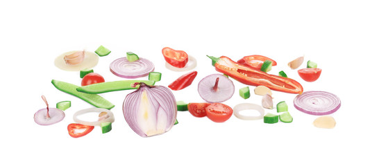 Sliced raw vegetables.