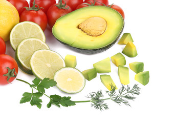 Avocado with vegetables and citrus.