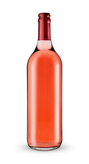 A bottle of rose wine -Clipping Path
