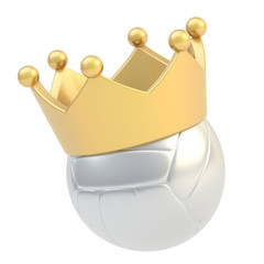 Volleyball ball in the crown isolated
