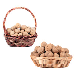 Two basket with walnuts.