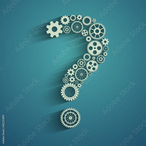 Question mark from gears - 65233801