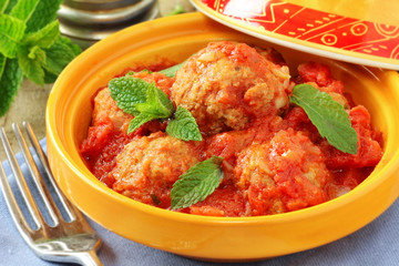 Moroccan cuisine - aromatic veal meatballs with mint