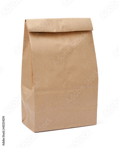 canvas print picture Brown Lunch Bag with clipping path