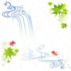 流水 水の流れと金魚