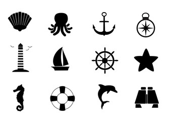 Collection of 12 marine vector icons.