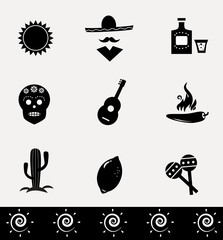 Mexican VECTOR icons isolated on white background.