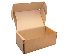 Carton brown open box isolated on white