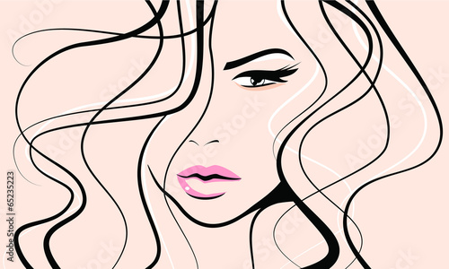 Woman with pink lips curly hair beauty icon