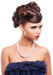 Glamour portrait of beautiful woman model with hairstyle.