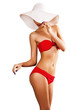 sexy woman in red swimsuit and white hat