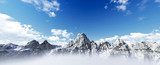 Panorama of Snow Mountain Range Landscape with Blue Sky. 3d rend