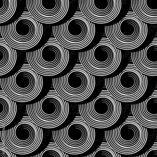 Tapeta Seamless pattern with circle spiral elements.