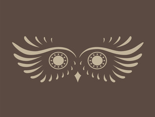Brown abstract silhouette of owl