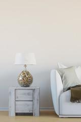 Lampe mit Korken im Wohnzimmer