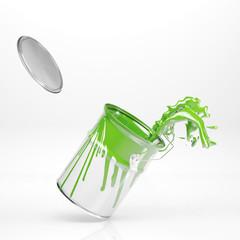 Grüner Eimer Farbe mit Spritzer