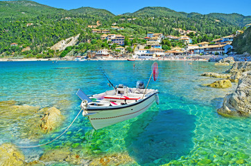 Greece - Lefkas - Agios Nikitas - transparency - boat