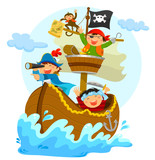 Fototapety happy pirates sailing in their ship