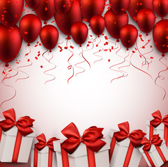 Celebrate red background with balloons.