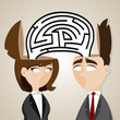 cartoon businessman and businesswoman with labyrinth from they h