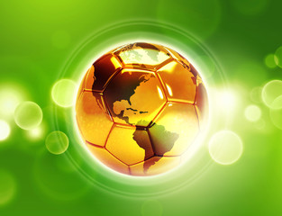 gold soccer ball with world map on shiny green background