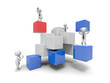 3d small people standing on some cubes
