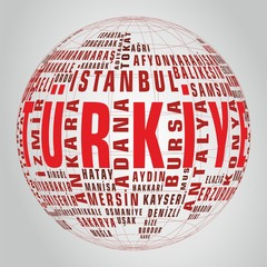 Turkey state map vector tag globe
