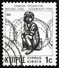 Postage stamp Cyprus 1984 Child and Barbed Wire