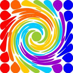 Modern abstract rainbow spiral motif